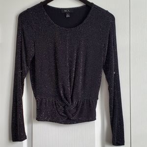 BCX Sparkly Knot Front Open Arm Long Sleeve Top
